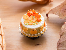 Load image into Gallery viewer, Fall Cake Decorated with Leaf and Branch Cookie, Apple, Flower and Pumpkin Candies - 12th Scale Miniature Food
