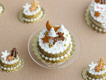 Load image into Gallery viewer, Golden Christmas Forest Cake Decorated with Gingerbread Reindeer, Snowy Trees  - Miniature Food