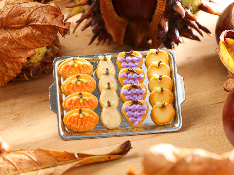 Autumn Fruit Decorated Cookies - 12th Scale Miniature Food