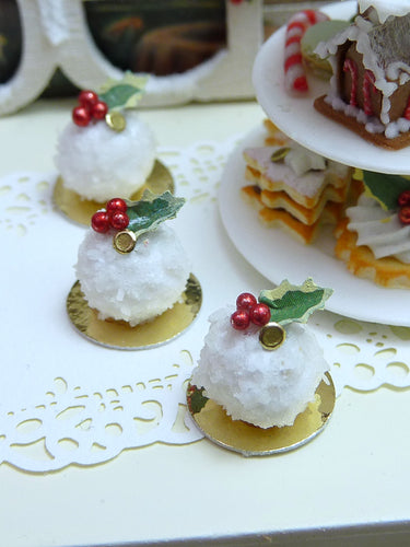 Boule de Neige (Snowball) - French Christmas Pastry - Miniature Food
