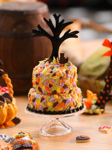 Autumn/ Halloween Cake - Black Cat Sitting in Autumn Leaves Under Bare Tree - Miniature Food