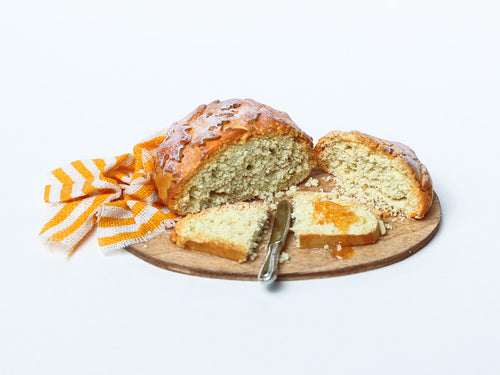 Autumn Leaf Loaf of Bread with Slice Spread with Jelly (Jam) - 12th Scale Miniature Food