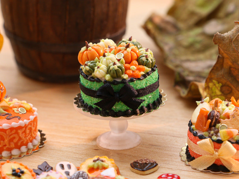 Miniature Autumn Cake Decorated with Coloured Pumpkins (Green, White/Cream, Orange) - 12th Scale Miniature Food