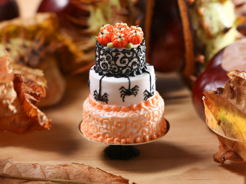 Spiders and Swirls - Beautiful Three Tiered Cake Decorated for Autumn / Halloween - 12th Scale Miniature Food