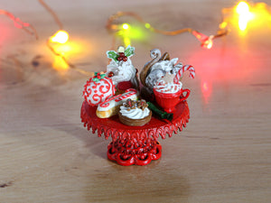 Christmas Pastries on Stand - 12th Scale Miniature Food