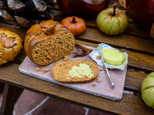 Load image into Gallery viewer, Pumpkin Bread with French Salted Butter - 12th Scale Miniature Food