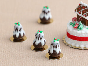Christmas Pudding Religieuse Pastry - Individual French Christmas Pastry - Miniature Food