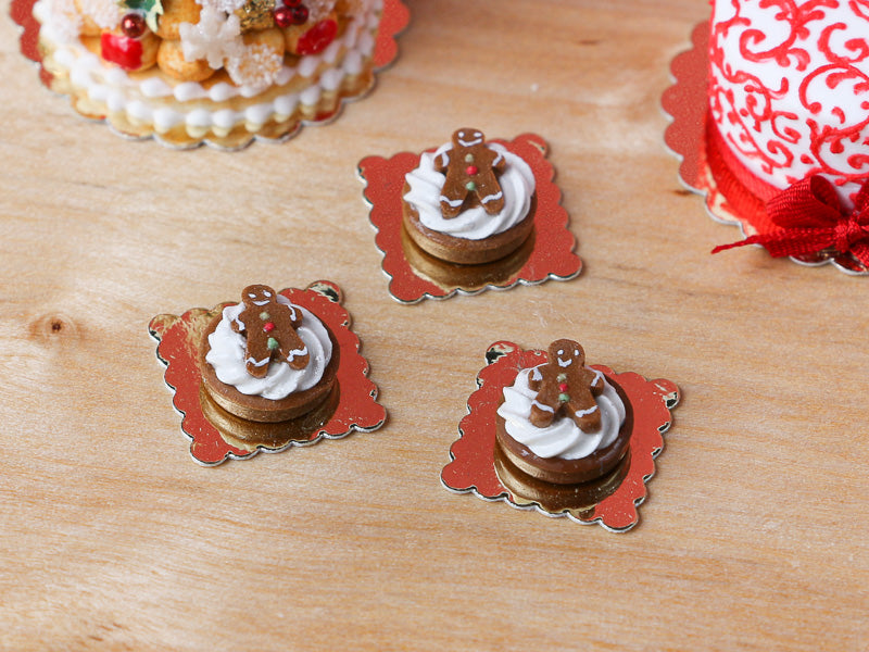 Gingerbread Man Tartlet - Individual French Christmas Pastry - Miniature Food