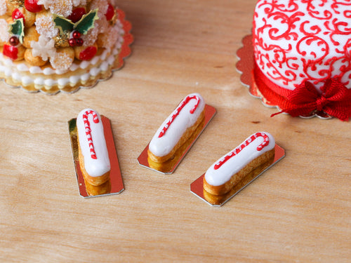 Candy Cane Decorated French Eclairs for Christmas - Miniature Food