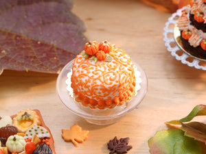 Arabesque Swirls Miniature Cake with Candy Pumpkins for Autumn Fall