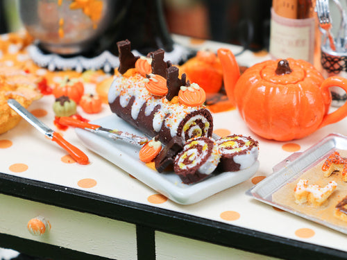 Autumn Chocolate Swiss Roll - Pumpkins and Black Chocolate Cats - Miniature Food in 12th Scale