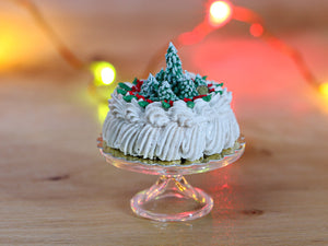 Christmas Cream Cake Decorated with Snowy Christmas Trees - 12th Scale Miniature Food