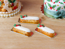 Load image into Gallery viewer, French Eclair with Holly Decoration for Christmas - Miniature Food