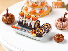 Load image into Gallery viewer, Autumn Chocolate Swiss Roll - Pumpkins and Candy Corn - Miniature Food in 12th Scale