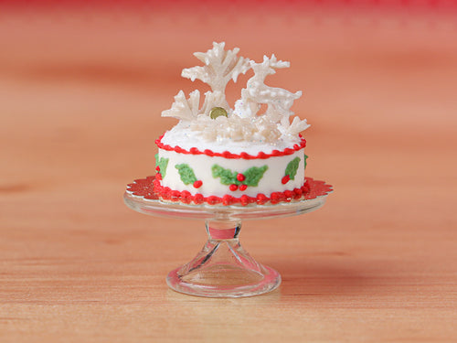 Christmas Winter Wonderland Cake with Frosty Trees & White Reindeer - 12th Scale Miniature Food