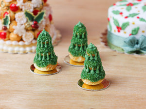 Christmas Tree Religieuse Pastry (Forest Green), Sapin de Noël - Miniature Food