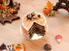 Load image into Gallery viewer, Open Chocolate Cake Decorated with Chocolate Pumpkins Candy Corn - 12th Scale Miniature Food