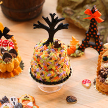 Load image into Gallery viewer, Autumn/ Halloween Cake - Black Cat Sitting in Autumn Leaves Under Bare Tree - Miniature Food