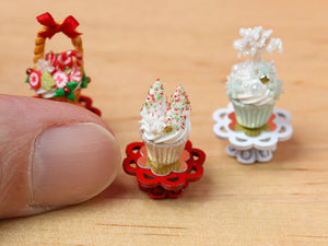 Showstopper Christmas Cupcake Snowy Trees & Snowflake E - 12th Scale Miniature Food