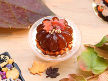 Load image into Gallery viewer, Pumpkin-Shaped Caramel Dessert Decorated with Autumn Leaves