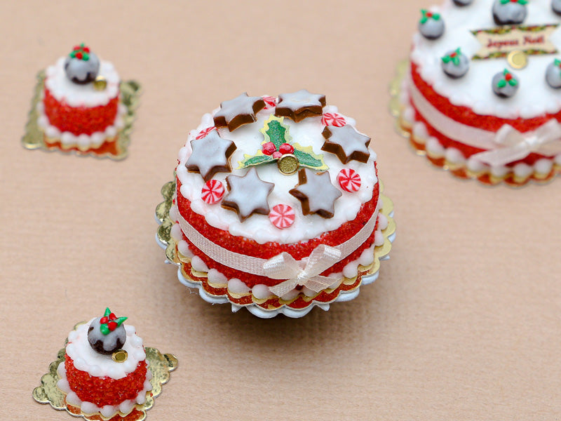 Christmas Cake Decorated with Iced Cinnamon Star Cookies - Miniature Food