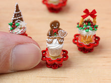 Load image into Gallery viewer, Showstopper Christmas Cupcake Gingerbread Man B - 12th Scale Miniature Food