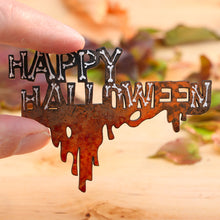 "Load image into Gallery viewer, Miniature Wooden ""HAPPY HALLOWEEN"" Wall Decoration - Bones! Dripping Blood!"