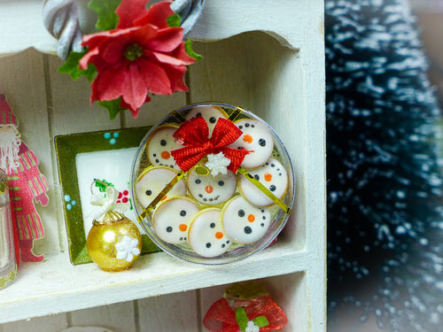 Gift Box of Iced Snowman Butter Cookies - 12th Scale Miniature Food