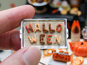 HALLOWEEN Letter Cookies on Baking Sheet for Autumn - Miniature Food in 12th scale