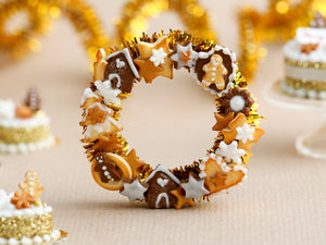 Decorative Christmas Gold Door Wreath with Cookies and Candies - Miniature Decoration