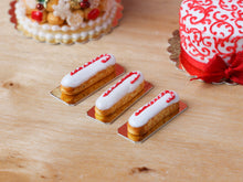 Load image into Gallery viewer, Candy Cane Decorated French Eclairs for Christmas - Miniature Food