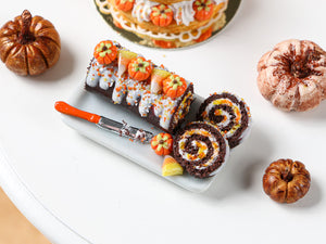 Autumn Chocolate Swiss Roll - Pumpkins and Candy Corn - Miniature Food in 12th Scale