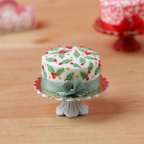 Holly and Berries Modern 'Designer' Christmas Cake - 12th Scale Miniature Food