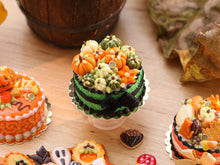 Load image into Gallery viewer, Miniature Autumn Cake Decorated with Coloured Pumpkins (Green, White/Cream, Orange) - 12th Scale Miniature Food