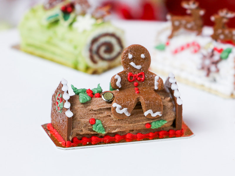 Gingerbread Man Sitting on Christmas Yule Log - Miniature Food