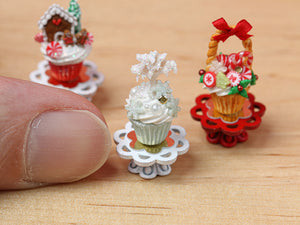 Showstopper Christmas Cupcake Snowy Winter Tree G - 12th Scale Miniature Food