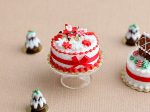 Christmas Cake Decorated with Santa Star Cookie and Snowflake Candies - Miniature Food