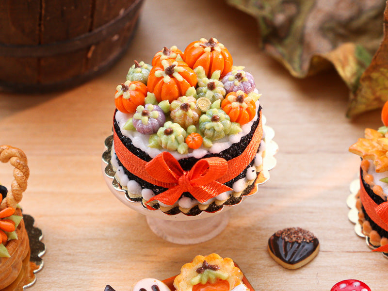 Miniature Cake Decorated with Coloured Pumpkins (Violet, Green Orange) - 12th Scale Miniature Food