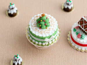 Christmas Cake Decorated with Truffle Christmas Tree - Miniature Food