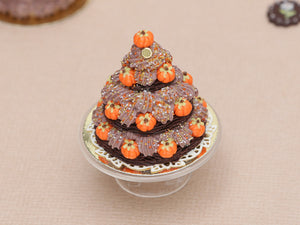 Triple Tiered Chocolate St Honoré Pastry for Autumn / Thanksgiving - Miniature Food in 12th Scale for Dollhouse