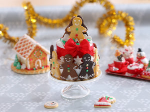 Gingerbread Carousel Christmas Celebration Cake Centerpiece - Miniature Food