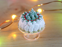 Load image into Gallery viewer, Christmas Cream Cake Decorated with Snowy Christmas Trees - 12th Scale Miniature Food