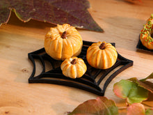 Load image into Gallery viewer, Trio of Autumn Brioche Presented on Spiders Web Tray - Miniature Food