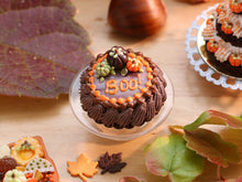 "Load image into Gallery viewer, Chocolate Pumpkin Cake with ""BOO!"" Message for Fall / Autumn - Miniature Food"