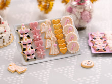 Load image into Gallery viewer, Pink Christmas Cookie Display - Pink Star Santa, Angels, Candy Cane Cookies - Choice of Pink or White Tray - Miniature Food