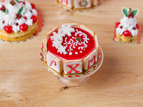 Christmas Cake - XMAS Letter Cookies - B - 12th Scale Miniature Food