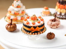 Load image into Gallery viewer, Miniature Cake for Autumn & Halloween, Pumpkins, Orange Bow - Miniature Food