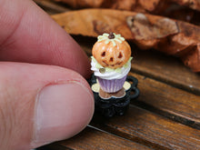 Load image into Gallery viewer, Autumn Showstopper Cupcake with Jack O'Lantern Pumpkin - Miniature Food