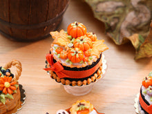 Load image into Gallery viewer, Autumn Cake Decorated with Orange Pumpkins, Leaf Cookies - 12th Scale Miniature Food