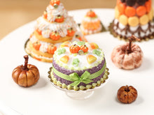 Load image into Gallery viewer, Halloween Miniature Cake - Pumpkins, Candy Corn, Frog Candies, Green Bow
